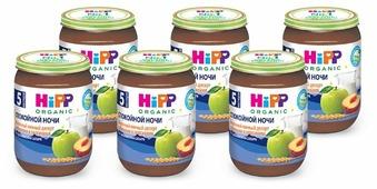 Каша HiPP Спокойной ночи молочный десерт манный с яблоками и персиками (с 5 месяцев) 190 г, 6 шт.