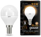 Лампа светодиодная gauss 105101110, E14, G45, 9.5Вт
