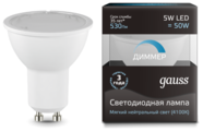 Лампа светодиодная gauss 101506205-D, GU10, JCDR, 5Вт
