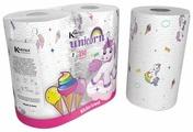 Полотенца бумажные World Cart Kartika collection Unicorns белые с рисунком двухслойные