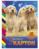 Цветной картон Три щенка Hatber, A4, 10 л., 10 цв.