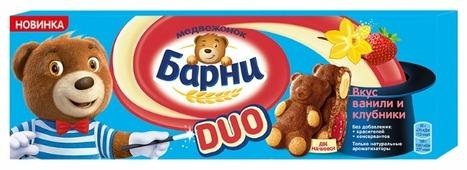 Пирожное Медвежонок Барни Duo со вкусом ванили и клубники