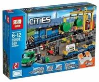 Электромеханический конструктор Lepin Cities 02008 Грузовой моторизированный поезд