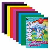 Цветная бумага Зайка с бабочками Kids Series BRAUBERG, A4, 16 л., 8 цв.