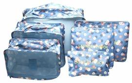 HOMSU Комплект из 6 органайзеров для багажа Синий Цветок