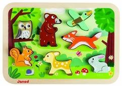 Рамка-вкладыш Janod Лесные животные (J07023), 7 дет.