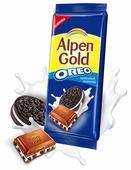 """Шоколад Alpen Gold Oreo молочный с дробленым печеньем """"Орео"""""""