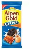 """Шоколад Alpen Gold Oreo молочный с дробленым печеньем """"Орео"""" и арахисовой пастой"""