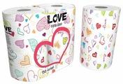 Полотенца бумажные World Cart Kartika collection Love белые с рисунком двухслойные 75 л/рул