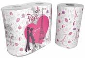 Полотенца бумажные World Cart Kartika collection Paris белые с рисунком двухслойные