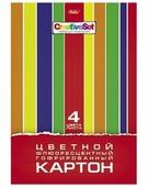 Цветной картон гофрированный Creative Set Hatber, A4, 4 л., 4 цв.