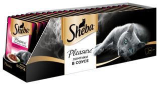 Корм для кошек Sheba Pleasure с кроликом, с говядиной 85 г (кусочки в соусе)