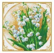 Алмазная живопись Набор алмазной вышивки Первые ландыши (АЖ-1443) 20х20 см