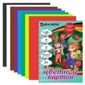 Цветной картон Веселые человечки BRAUBERG, A3, 8 л., 8 цв.