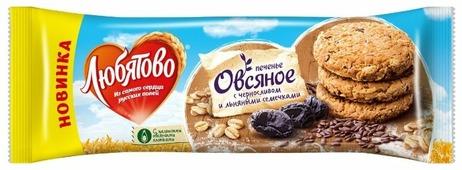 Печенье Любятово овсяное С черносливом и льняными семечками, 200 г