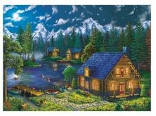 "Рыжий кот Картина по номерам ""Дом у ночного озера"" 40х50 см (AWD053)"