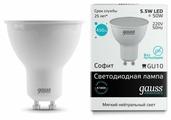 Лампа светодиодная gauss 13626, GU10, MR16, 5.5Вт