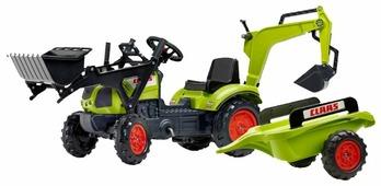 Веломобиль Falk Трактор-экскаватор с прицепом и двумя ковшами (2040N)