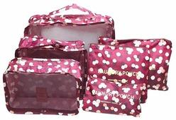 HOMSU Комплект из 6 органайзеров для багажа Бордовый Цветок