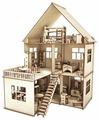 Сборная модель ХэппиДом Коттедж с пристройкой и мебелью (HK-D004)
