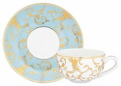 Elan gallery Чашка для капучино + блюдце Королевский узор на голубом