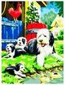 """Рыжий кот Картина по номерам """"Щенки в саду"""" 40х50 см (B013)"""