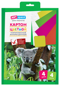 Цветной картон гофрированный, флуоресцентный, в папке с европодвесом ArtSpace, A4, 4 л., 4 цв. в ассортименте