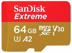 64Gb - SanDisk Extreme Micro Secure Digital XC - Class 10 UHS-3 SDSQXA2-064G-GN6AA с переходником под SD (Оригинальная!