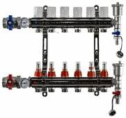"""Коллекторная группа Tim (KA006) 1"""", 6 вых., расходомер, воздухоотводчик, сливной кран, термометр"""