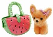 Мягкая игрушка Играем вместе Собака чихуахуа в сумочке арбуз 19 см