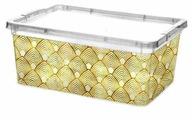 ПОЛИМЕРБЫТ Контейнер для хранения с золотистым рисунком прозрачный с крышкой 19х16х9см