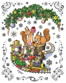 Наклейка интерьерная Феникс Present Новогодний паровозик и мышата 30 х 38 см