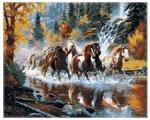 "Рыжий кот Картина по номерам ""Табун лошадей на реке в лесу"" 40х50 см (G2512)"