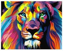 """Артвентура Картина по номерам """"Радужный лев"""" 16.5x13 см (MINI16130001)"""