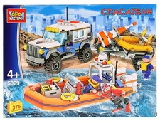 Конструктор ГОРОД МАСТЕРОВ Полиция 5029 Спасательный джип с лодкой