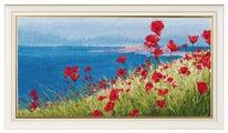 Овен Цветной Вышивка крестом Лето, море, маки 37 х 20 см (1028)