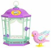 Интерактивная игрушка робот Moose Little Live Pets Птичка с клеткой со светящимися крылышками 28547
