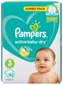 Pampers подгузники Active Baby-Dry 3 (6-10 кг) 82 шт.