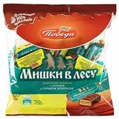 Конфеты Победа вкуса Мишки в лесу вафельные с начинкой в горьком шоколаде