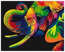 """Артвентура Картина по номерам """"Радужный слон"""" 16.5x13 см (MINI16130032)"""