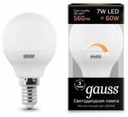Лампа светодиодная gauss 105101107-D, E14, G45, 6.5Вт