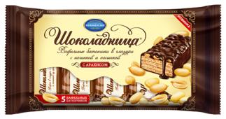 Вафли Коломенское Шоколадница в глазури с начинкой и посыпкой из арахиса 5 шт.