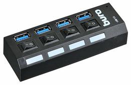 USB-концентратор Buro BU-HUB4-U3.0-L, разъемов: 4