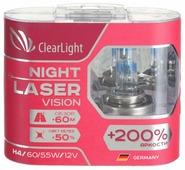 Лампа автомобильная галогенная ClearLight Night Laser Vision+200% H4 12V 60/55W 2 шт.