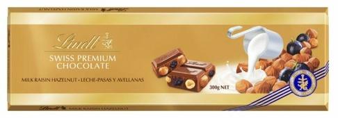Шоколад Lindt Swiss premium молочный с фундуком и изюмом