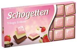 Шоколад Schogetten Trilogia Strawberry белый со вкусом клубники+белый+альпийский молочный