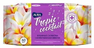 Влажные салфетки Aura Tropic Cocktail c антибактериальным эффектом