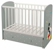 """Кроватка Polini Disney baby 750 """"Микки Маус"""" (классическая), поперечный маятник"""