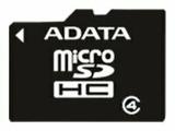 Карта памяти ADATA microSDHC Class 4 + SD adapter