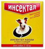 Инсектал Капли от клещей и блох для собак 4–10 кг